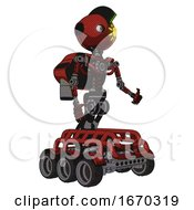 Android Containing Oval Wide Head And Sunshine Patch Eye And Techno Mohawk And Light Chest Exoshielding And Rocket Pack And No Chest Plating And Six Wheeler Base Cherry Tomato Red Facing Left View