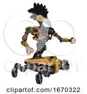 Mech Containing Bird Skull Head And Brass Steampunk Eyes And Crow Feather Design And Heavy Upper Chest And No Chest Plating And Insect Walker Legs Construction Yellow Halftone Interacting