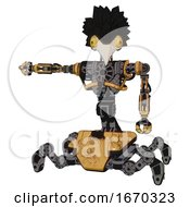 Poster, Art Print Of Mech Containing Bird Skull Head And Brass Steampunk Eyes And Crow Feather Design And Heavy Upper Chest And No Chest Plating And Insect Walker Legs Construction Yellow Halftone