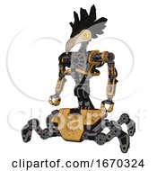 Mech Containing Bird Skull Head And Brass Steampunk Eyes And Crow Feather Design And Heavy Upper Chest And No Chest Plating And Insect Walker Legs Construction Yellow Halftone