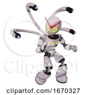 Cyborg Containing Grey Alien Style Head And Yellow Eyes With Blue Pupils And Light Chest Exoshielding And Yellow Chest Lights And Blue Eye Cam Cable Tentacles And Light Leg Exoshielding