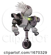 Mech Containing Round Fiber Optic Connectors Head And Heavy Upper Chest And Heavy Mech Chest And Green Energy Core And Unicycle Wheel Dark Ink Dots Sketch Hero Pose