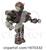 Droid Containing Grey Alien Style Head And Green Demon Eyes And Heavy Upper Chest And Heavy Mech Chest And Barbed Wire Chest Armor Cage And Prototype Exoplate Legs Patent Khaki Metal Interacting