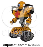 Android Containing Dual Retro Camera Head And Happy 3 Eyes Round Head And Heavy Upper Chest And First Aid Chest Symbol And Shoulder Headlights And Tank Tracks Primary Yellow Halftone