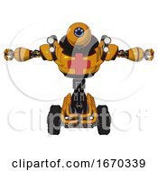 Android Containing Dual Retro Camera Head And Happy 3 Eyes Round Head And Heavy Upper Chest And First Aid Chest Symbol And Shoulder Headlights And Tank Tracks Primary Yellow Halftone T Pose