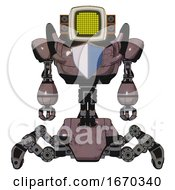 Android Containing Old Computer Monitor And Yellow Circle Array Display And Old Retro Speakers And Heavy Upper Chest And Blue Shield Defense Design And Insect Walker Legs Dusty Rose Red Metal