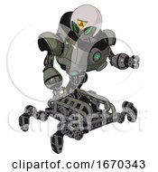 Robot Containing Grey Alien Style Head And Green Demon Eyes And Triangle Design And Helmet And Heavy Upper Chest And Chest Green Energy Cores And Insect Walker Legs Concrete Grey Metal