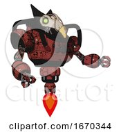 Poster, Art Print Of Robot Containing Bird Skull Head And Green Eyes And Robobeak Design And Heavy Upper Chest And Chest Compound Eyes And Jet Propulsion Grunge Matted Orange Interacting