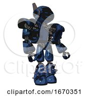 Mech Containing Digital Display Head And Sleeping Face And Winglets And Heavy Upper Chest And Heavy Mech Chest And Light Leg Exoshielding And Spike Foot Mod Grunge Dark Blue Facing Left View