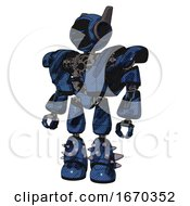 Mech Containing Digital Display Head And Sleeping Face And Winglets And Heavy Upper Chest And Heavy Mech Chest And Light Leg Exoshielding And Spike Foot Mod Grunge Dark Blue