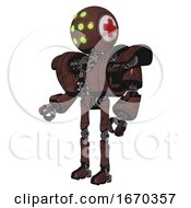 Automaton Containing Round Head And Green Eyes Array And First Aid Emblem And Heavy Upper Chest And Heavy Mech Chest And Ultralight Foot Exosuit Steampunk Copper Facing Right View