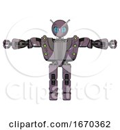 Bot Containing Grey Alien Style Head And Blue Grate Eyes And Bug Antennas And Heavy Upper Chest And Heavy Mech Chest And Green Cable Sockets Array And Prototype Exoplate Legs Lilac Metal T Pose