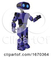Android Containing Dual Retro Camera Head And Cute Retro Robo Head And Yellow Head Leds And Light Chest Exoshielding And Prototype Exoplate Chest And Prototype Exoplate Legs Primary Blue Halftone