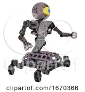 Cyborg Containing Giant Eyeball Head Design And Heavy Upper Chest And No Chest Plating And Insect Walker Legs Dark Ink Dots Sketch Interacting