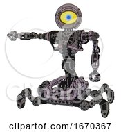 Cyborg Containing Giant Eyeball Head Design And Heavy Upper Chest And No Chest Plating And Insect Walker Legs Dark Ink Dots Sketch Arm Out Holding Invisible Object