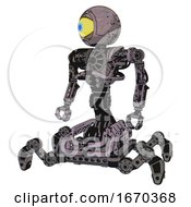 Cyborg Containing Giant Eyeball Head Design And Heavy Upper Chest And No Chest Plating And Insect Walker Legs Dark Ink Dots Sketch Standing Looking Right Restful Pose