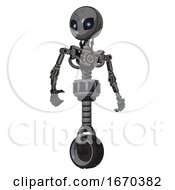 Mech Containing Grey Alien Style Head And Electric Eyes And Light Chest Exoshielding And No Chest Plating And Unicycle Wheel Patent Concrete Gray Metal Hero Pose