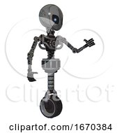 Mech Containing Grey Alien Style Head And Electric Eyes And Light Chest Exoshielding And No Chest Plating And Unicycle Wheel Patent Concrete Gray Metal Interacting