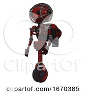Droid Containing Oval Wide Head And Beady Black Eyes And Barbed Wire Cage Helmet And Light Chest Exoshielding And Rocket Pack And No Chest Plating And Unicycle Wheel Matted Red Facing Right View