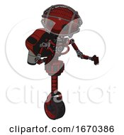 Droid Containing Oval Wide Head And Beady Black Eyes And Barbed Wire Cage Helmet And Light Chest Exoshielding And Rocket Pack And No Chest Plating And Unicycle Wheel Matted Red