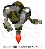 Android Containing Oval Wide Head And Small Red Led Eyes And Heavy Upper Chest And Chest Blue Energy Core And Jet Propulsion Army Green Halftone Interacting