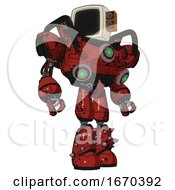 Android Containing Old Computer Monitor And Old Retro Speakers And Heavy Upper Chest And Chest Green Energy Cores And Light Leg Exoshielding And Spike Foot Mod Grunge Dots Cherry Tomato Red