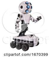 Robot Containing Round Head And Six Eye Array And Bug Eyes And Light Chest Exoshielding And Prototype Exoplate Chest And Six Wheeler Base White Halftone Toon Interacting