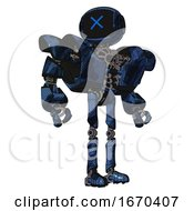 Robot Containing Digital Display Head And X Face And Heavy Upper Chest And Heavy Mech Chest And Ultralight Foot Exosuit Grunge Dark Blue Hero Pose