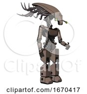 Cyborg Containing Flat Elongated Skull Head And Cables And Light Chest Exoshielding And Ultralight Chest Exosuit And Prototype Exoplate Legs Khaki Halftone Facing Left View