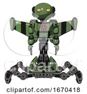 Robot Containing Oval Wide Head And Yellow Eyes And Light Chest Exoshielding And Red Energy Core And Stellar Jet Wing Rocket Pack And Insect Walker Legs Grass Green Front View