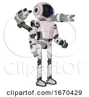 Mech Containing Digital Display Head And Blank Faced Expression And Light Chest Exoshielding And Prototype Exoplate Chest And Minigun Back Assembly And Ultralight Foot Exosuit White Halftone Toon