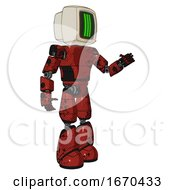 Android Containing Old Computer Monitor And Three Lines Pixel Design And Light Chest Exoshielding And Prototype Exoplate Chest And Light Leg Exoshielding Grunge Dots Cherry Tomato Red Interacting