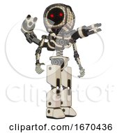Robot Containing Round Barbed Wire Round Head And Light Chest Exoshielding And Minigun Back Assembly And No Chest Plating And Prototype Exoplate Legs Off White Toon Hero Pose