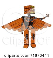 Robot Containing Dual Retro Camera Head And Cube Array Head And Light Chest Exoshielding And Pilots Wings Assembly And No Chest Plating And Prototype Exoplate Legs Secondary Orange Halftone