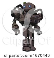 Robot Containing Oval Wide Head And Blue Eyes And Green Led Ornament And Heavy Upper Chest And Chest Energy Sockets And Prototype Exoplate Legs Light Brown Hero Pose