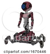 Robot Containing Digital Display Head And Large Eye And Light Chest Exoshielding And Ultralight Chest Exosuit And Insect Walker Legs Muavewood Halftone Grunge Standing Looking Right Restful Pose