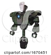 Droid Containing Humanoid Face Mask And Spiral Design And Heavy Upper Chest And Heavy Mech Chest And Blue Energy Fission Element Chest And Unicycle Wheel Old Corroded Copper