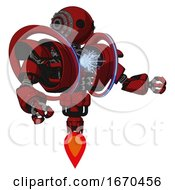 Automaton Containing Oval Wide Head And Steampunk Iron Bands With Bolts And Heavy Upper Chest And Heavy Mech Chest And Spectrum Fusion Core Chest And Jet Propulsion Dark Red Interacting