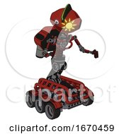 Android Containing Oval Wide Head And Sunshine Patch Eye And Techno Mohawk And Light Chest Exoshielding And Rocket Pack And No Chest Plating And Six Wheeler Base Cherry Tomato Red