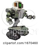 Bot Containing Old Computer Monitor And Pixel Exclamation Point Alert Face And Old Retro Speakers And Heavy Upper Chest And Heavy Mech Chest And Green Cable Sockets Array And Tank Tracks Green Metal