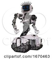 Automaton Containing Digital Display Head And Happy Face And Eye Lashes Deco And Heavy Upper Chest And No Chest Plating And Tank Tracks White Halftone Toon Hero Pose