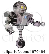 Bot Containing Oval Wide Head And Yellow Eyes And Barbed Wire Cage Helmet And Heavy Upper Chest And Heavy Mech Chest And Blue Energy Fission Element Chest And Unicycle Wheel Grunge Sketch Dots