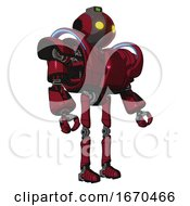 Mech Containing Oval Wide Head And Yellow Eyes And Green Led Ornament And Heavy Upper Chest And Heavy Mech Chest And Battle Mech Chest And Ultralight Foot Exosuit Fire Engine Red Halftone