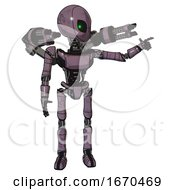 Bot Containing Grey Alien Style Head And Green Inset Eyes And Light Chest Exoshielding And Ultralight Chest Exosuit And Minigun Back Assembly And Ultralight Foot Exosuit Lilac Metal
