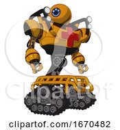 Android Containing Dual Retro Camera Head And Happy 3 Eyes Round Head And Heavy Upper Chest And First Aid Chest Symbol And Shoulder Headlights And Tank Tracks Primary Yellow Halftone Hero Pose