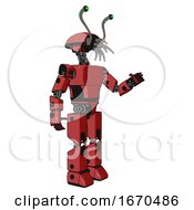Mech Containing Dual Retro Camera Head And Shrimp Head And Light Chest Exoshielding And Prototype Exoplate Chest And Prototype Exoplate Legs Primary Red Halftone Interacting