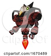 Poster, Art Print Of Robot Containing Bird Skull Head And Green Eyes And Robobeak Design And Heavy Upper Chest And Chest Compound Eyes And Jet Propulsion Grunge Matted Orange Facing Right View