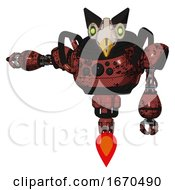 Robot Containing Bird Skull Head And Green Eyes And Robobeak Design And Heavy Upper Chest And Chest Compound Eyes And Jet Propulsion Grunge Matted Orange Arm Out Holding Invisible Object