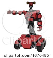 Droid Containing Dual Retro Camera Head And Simple Blue Telescopic Eye Head And Light Chest Exoshielding And Chest Valve Crank And Rocket Pack And Six Wheeler Base Primary Red Halftone