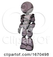Robot Containing Dots Array Face And Light Chest Exoshielding And Rubber Chain Sash And Light Leg Exoshielding Dark Dirty Scrawl Sketch Facing Right View